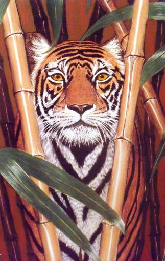 Tiger in bamboo painting. Pastel and acrylic. David Clode