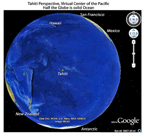 keeping things in perspective. The Pacific ocean, the site of the El nino/Southern Oscillation phenomenon. Most people live in the Northern hemisphere in cities, so it is easy to forget that about 40% of the Earth is covered by the Pacific ocean. Phot: http://farm4.static.flicker.com.
