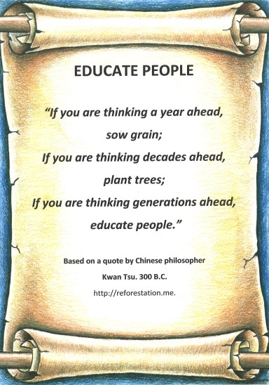 """Educate People "" Kwan Tsu quote poster."