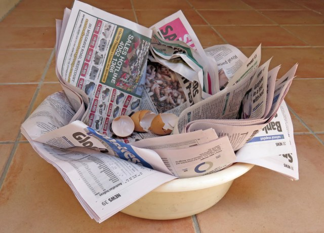 "A plastic ""washing up bowl"" lined with 20 sheets of newspaper, for defecation. The whole lot can be placed at the bottom of a hole which has a concave base, and then plant trees or other plants. Household food waste could alos be added, sucgh as egg shells and vegetable scraps."