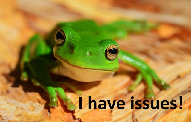 """I have issues!"". Green tree frog, Litoria caerulea. Poster: David Clode."