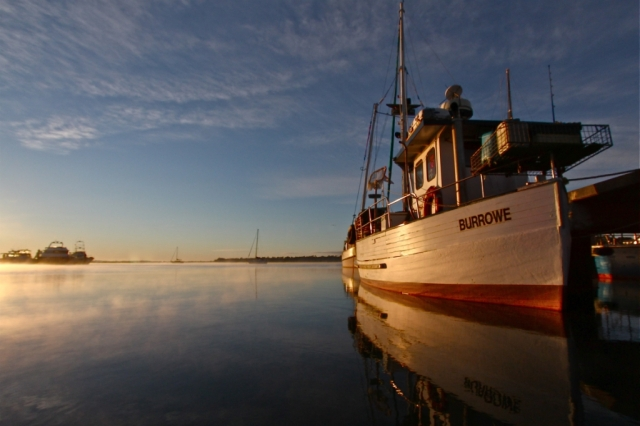 Dawn boat scene, Tasmania. photo: Bryan Clode.