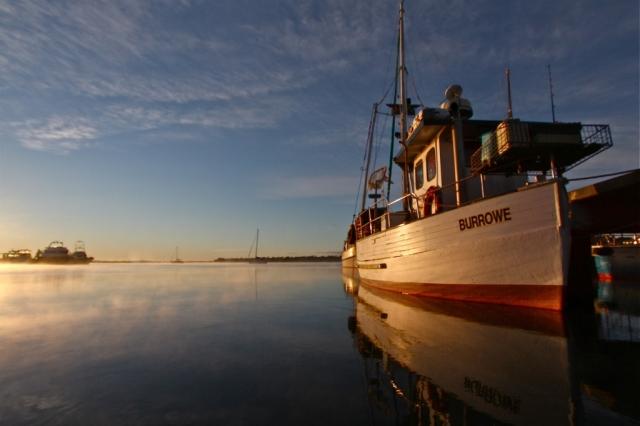 Dawn boat scene, Tasmania. photo: Bryan Clode.