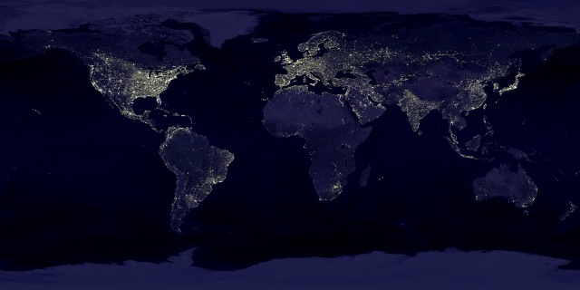 Earth lights. Map: earthobservatroy.nasa.