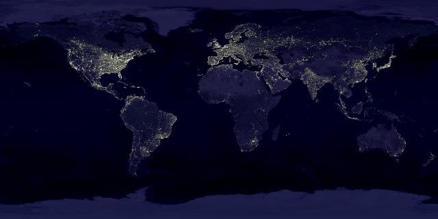 Earth lights. Map: earthobservatroy.nasa.