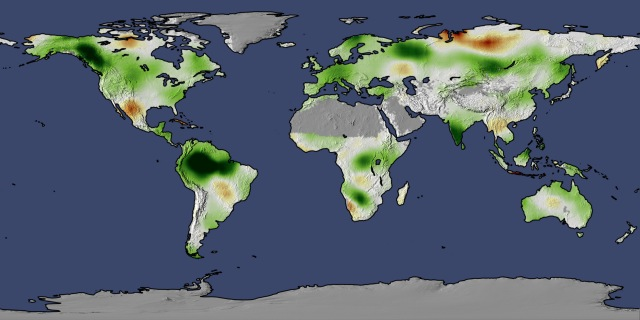 Net primary productivity change. Map: earthobservatory.nasa.